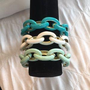 NWOT 3 Enamel Link Bracelets